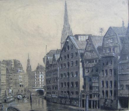 Blick von der Holzbrücke zur Katharienkirche, Zeichnung Edgar Groenewold, 1924